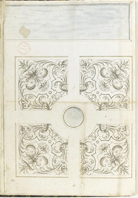 13-509095 dessin de parterre au bord d'une piece d'eau Paris, bibliothèque de l'Institut