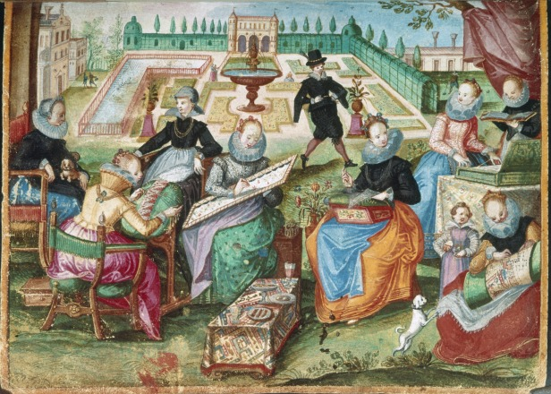 Ladies_in_a_garden_embroidering_-_Album_Amicorum_of_Gervasius_Fabricius_(1603-1637),_f.50_-_BL_Add_MS_17025